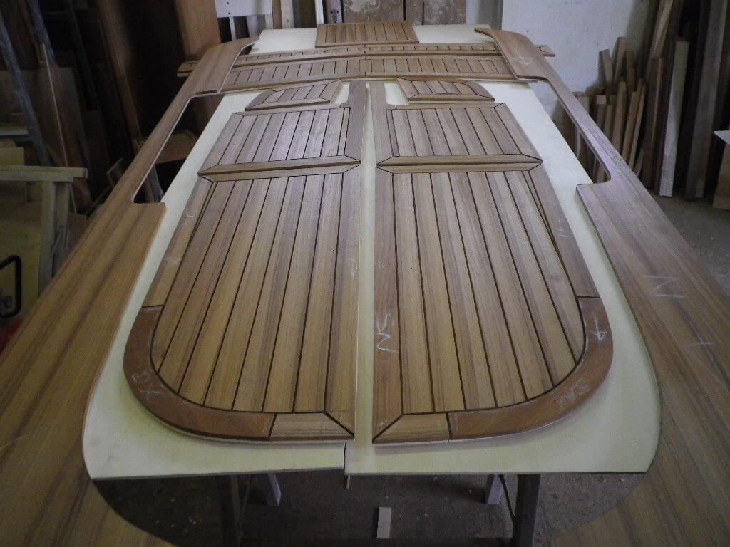 Teak decking panels on templates