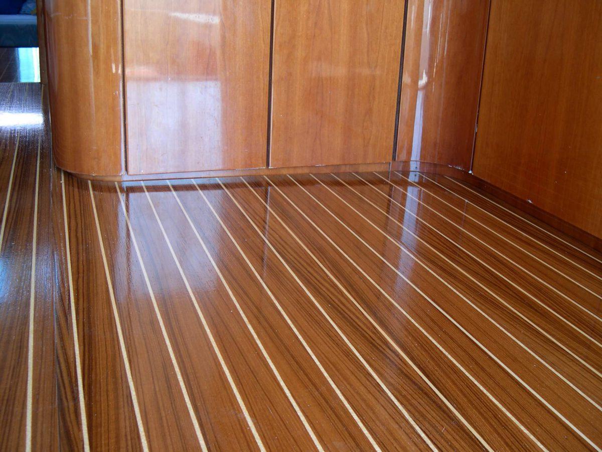 Floor boards Teak Koto varnished