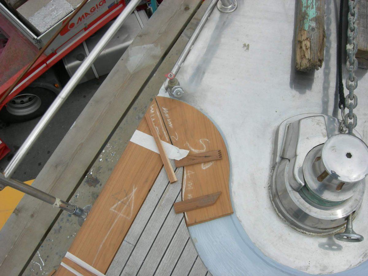 Teak margin replacement on steel deck 01