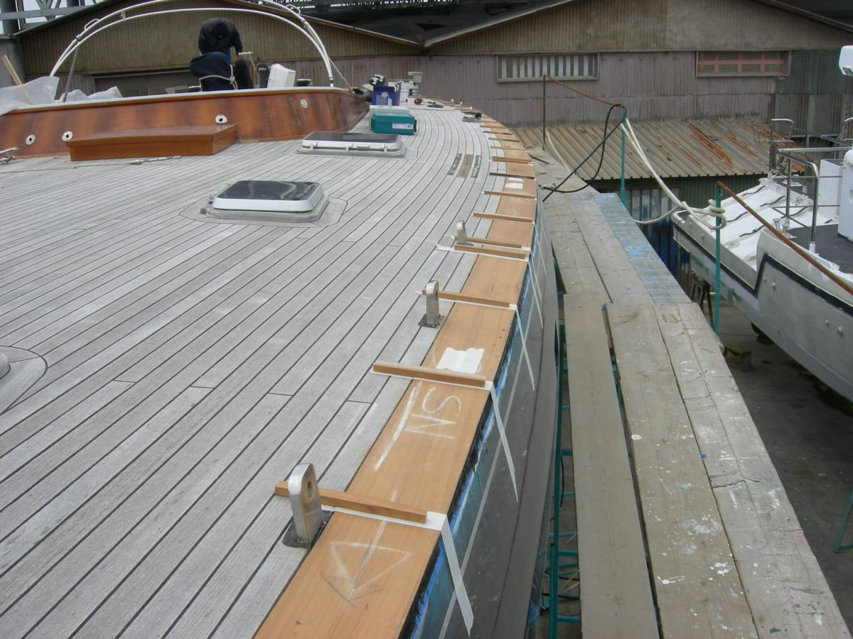 Teak margin replacement on steel deck